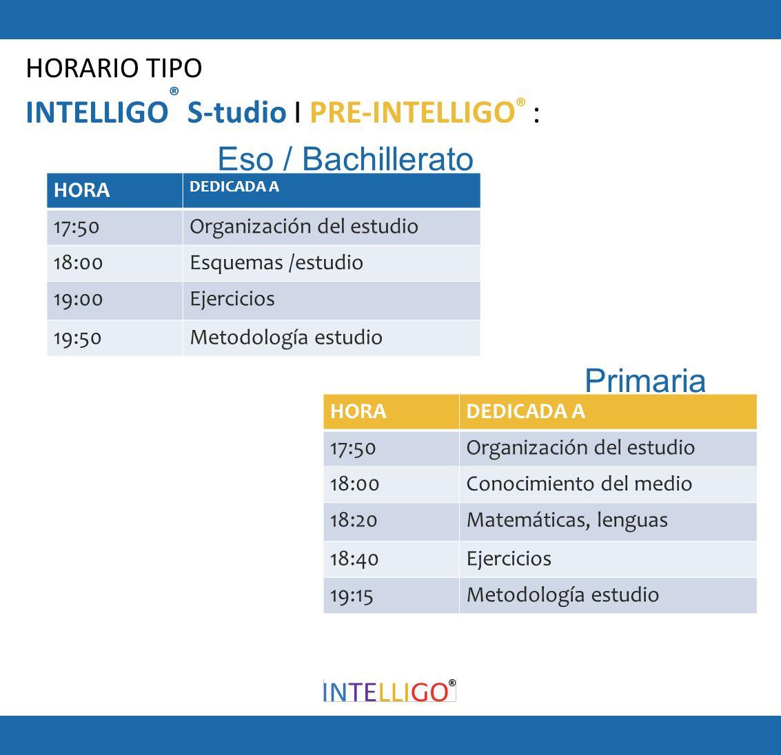 INTELLIGO ® S-tudio I PRE-INTELLIGO ® : HORA DEDICADA A 17:50Organización del estudio 18:00Esquemas /estudio 19:00Ejercicios 19:50Metodología estudio