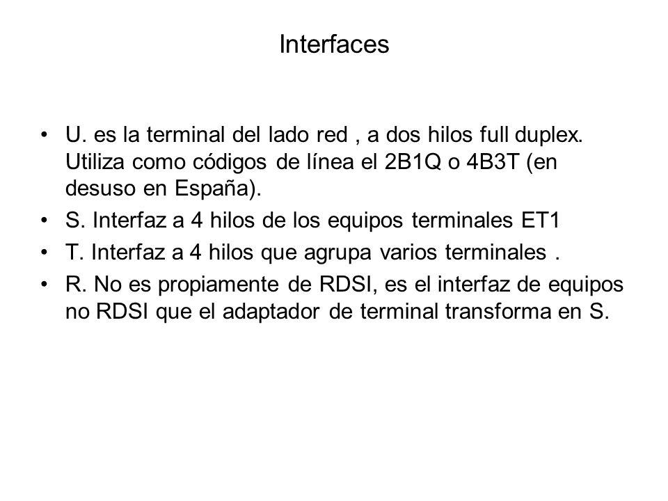 Interfaces U. es la terminal del lado red, a dos hilos full duplex. Utiliza como códigos de línea el 2B1Q o 4B3T (en desuso en España). S. Interfaz a