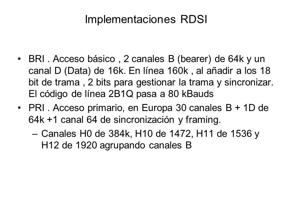Implementaciones RDSI BRI. Acceso básico, 2 canales B (bearer) de 64k y un canal D (Data) de 16k. En línea 160k, al añadir a los 18 bit de trama, 2 bi