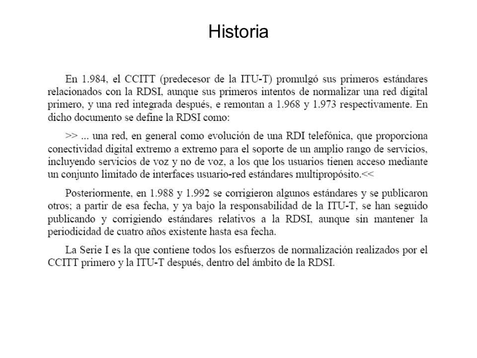 RDSI Intento de digitalizar el bucle de abonado –Se definió un servicio básico que proporcionaba dos líneas con capacidad voz/datos a 64 k –Se definió un nuevo interfaz normalizado para conexión a alta velocidad (2 mbs en Europa) a la red telefónica.