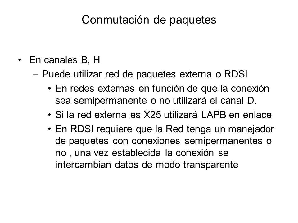 Conmutación de paquetes En canales B, H –Puede utilizar red de paquetes externa o RDSI En redes externas en función de que la conexión sea semipermane