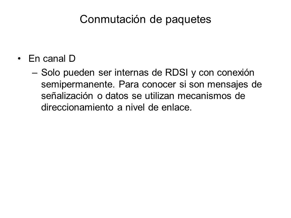Conmutación de paquetes En canal D –Solo pueden ser internas de RDSI y con conexión semipermanente. Para conocer si son mensajes de señalización o dat