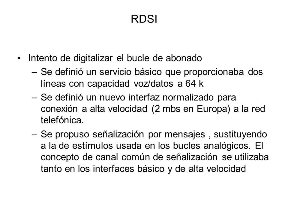 RDSI Intento de digitalizar el bucle de abonado –Se definió un servicio básico que proporcionaba dos líneas con capacidad voz/datos a 64 k –Se definió