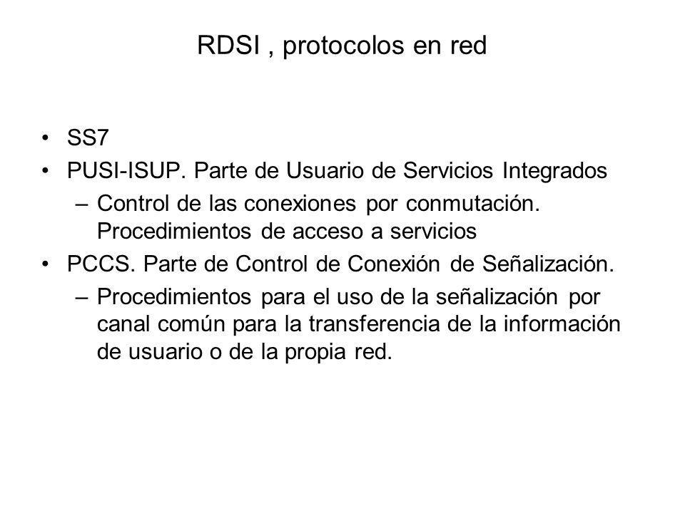 RDSI, protocolos en red SS7 PUSI-ISUP. Parte de Usuario de Servicios Integrados –Control de las conexiones por conmutación. Procedimientos de acceso a