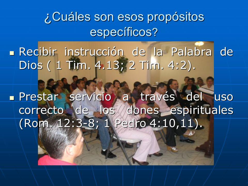 ¿ Cuáles son esos propósitos específicos ? Recibir instrucción de la Palabra de Dios ( 1 Tim. 4.13; 2 Tim. 4:2). Recibir instrucción de la Palabra de
