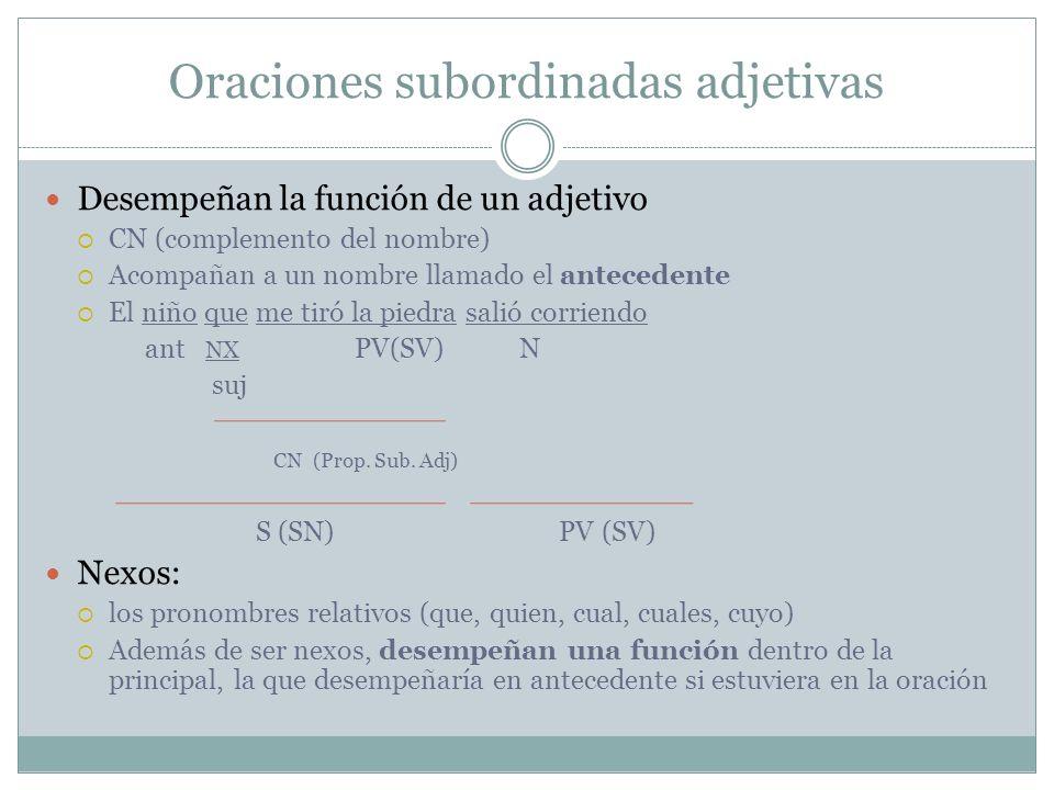 Oraciones subordinadas adjetivas Desempeñan la función de un adjetivo CN (complemento del nombre) Acompañan a un nombre llamado el antecedente El niño