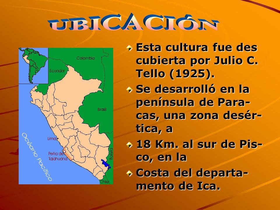 Esta cultura fue des cubierta por Julio C. Tello (1925). Se desarrolló en la península de Para- cas, una zona desér- tica, a 18 Km. al sur de Pis- co,