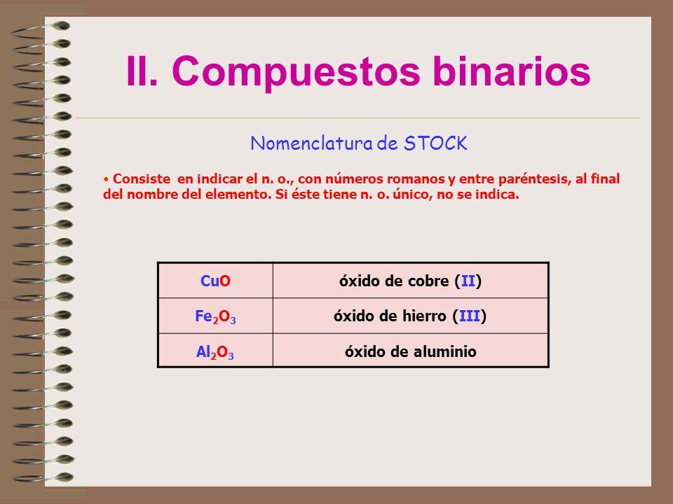 II. Compuestos binarios Nomenclatura de STOCK Consiste en indicar el n. o., con números romanos y entre paréntesis, al final del nombre del elemento.