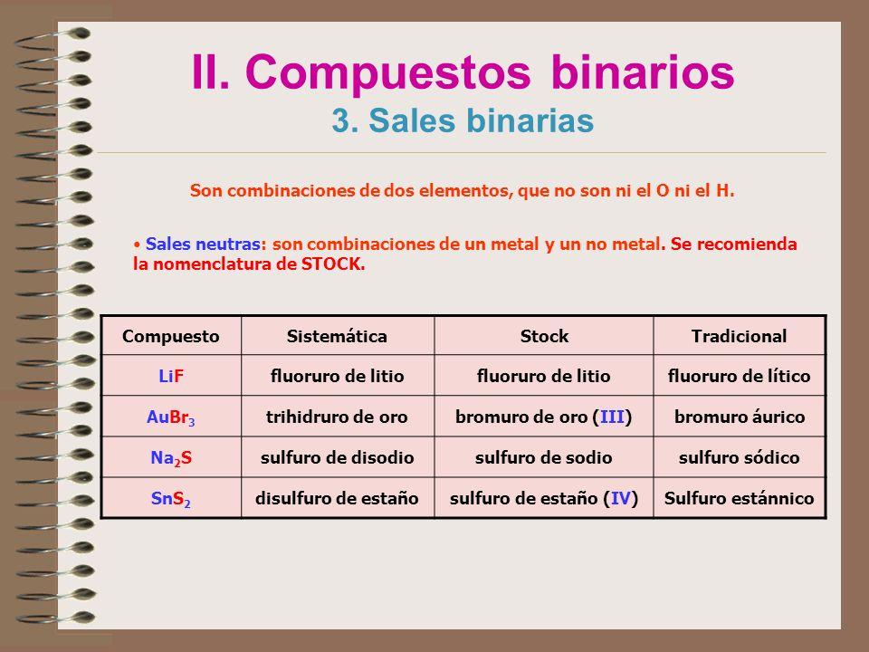 II. Compuestos binarios 3. Sales binarias Son combinaciones de dos elementos, que no son ni el O ni el H. Sales neutras: son combinaciones de un metal