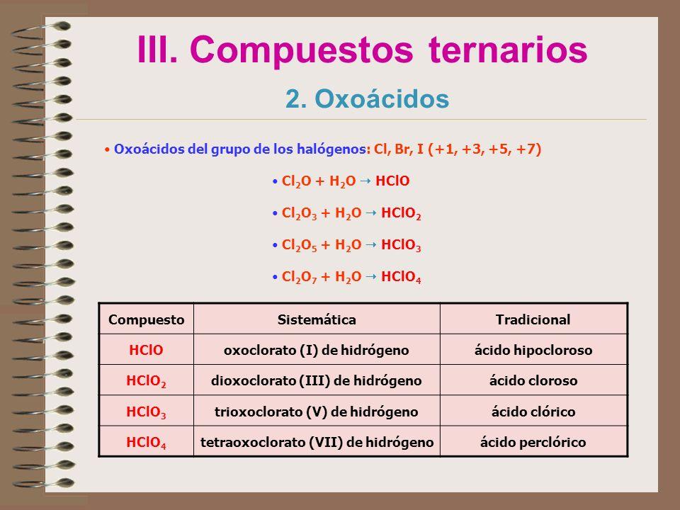 III. Compuestos ternarios 2. Oxoácidos Oxoácidos del grupo de los halógenos: Cl, Br, I (+1, +3, +5, +7) Cl 2 O + H 2 O HClO Cl 2 O 3 + H 2 O HClO 2 Cl