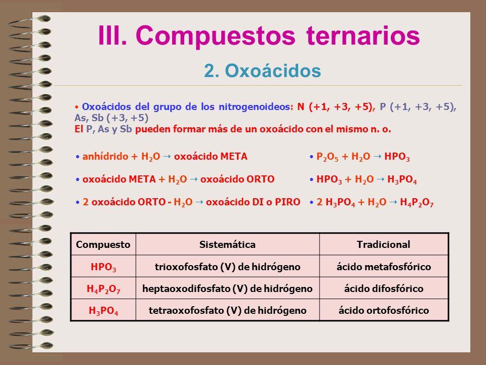 III. Compuestos ternarios 2. Oxoácidos Oxoácidos del grupo de los nitrogenoideos: N (+1, +3, +5), P (+1, +3, +5), As, Sb (+3, +5) El P, As y Sb pueden