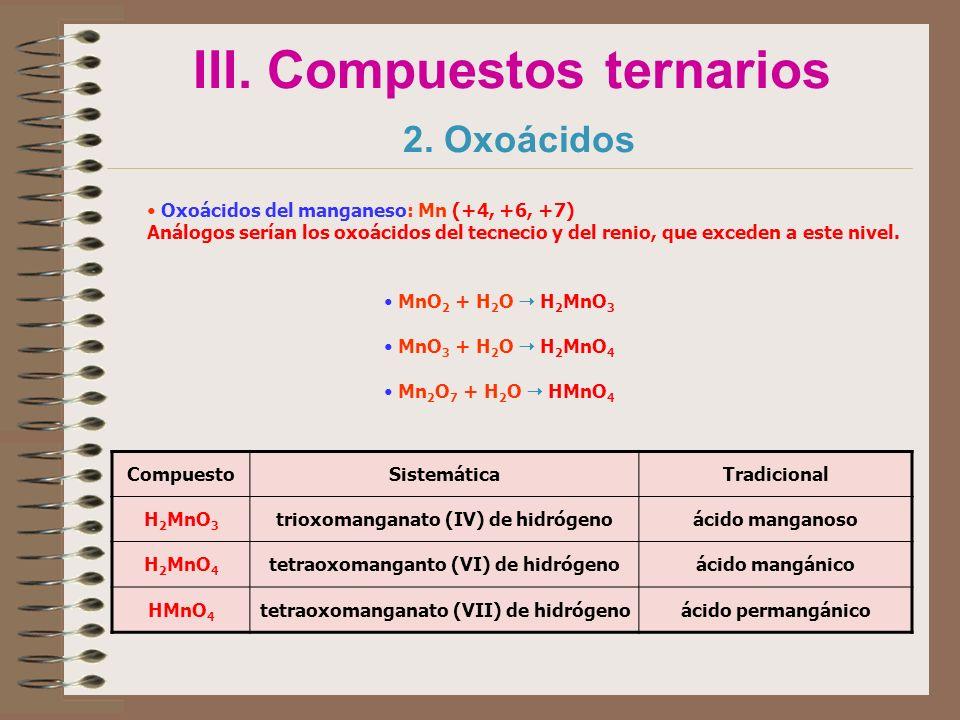 III. Compuestos ternarios 2. Oxoácidos Oxoácidos del manganeso: Mn (+4, +6, +7) Análogos serían los oxoácidos del tecnecio y del renio, que exceden a
