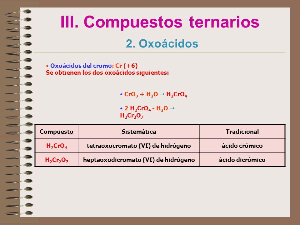 III. Compuestos ternarios 2. Oxoácidos Oxoácidos del cromo: Cr (+6) Se obtienen los dos oxoácidos siguientes: CompuestoSistemáticaTradicional H 2 CrO