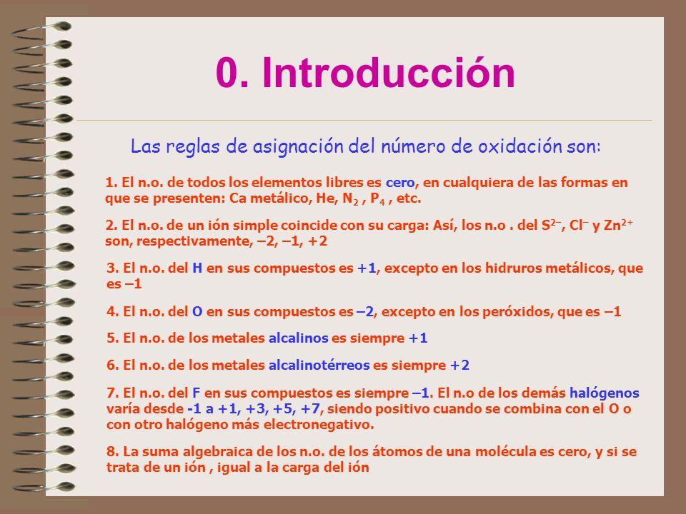 0. Introducción Las reglas de asignación del número de oxidación son: 1. El n.o. de todos los elementos libres es cero, en cualquiera de las formas en