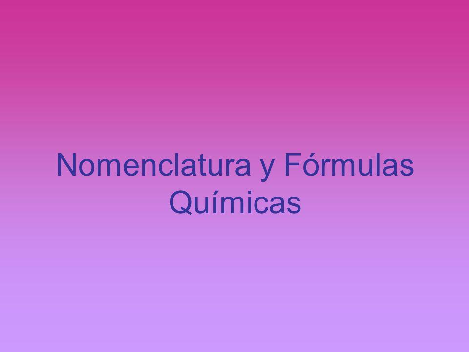 Nomenclatura y Fórmulas Químicas