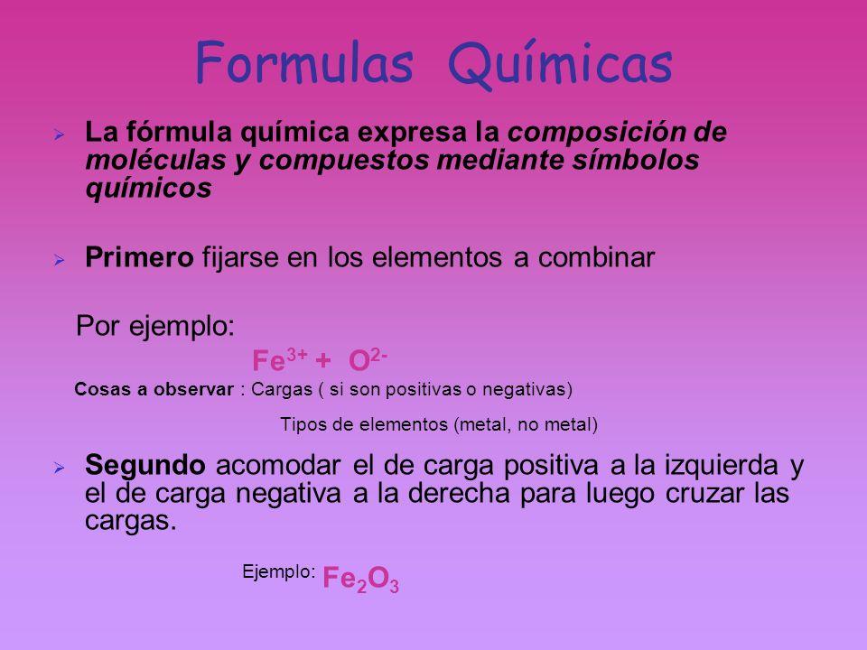 Formulas Químicas La fórmula química expresa la composición de moléculas y compuestos mediante símbolos químicos Primero fijarse en los elementos a co