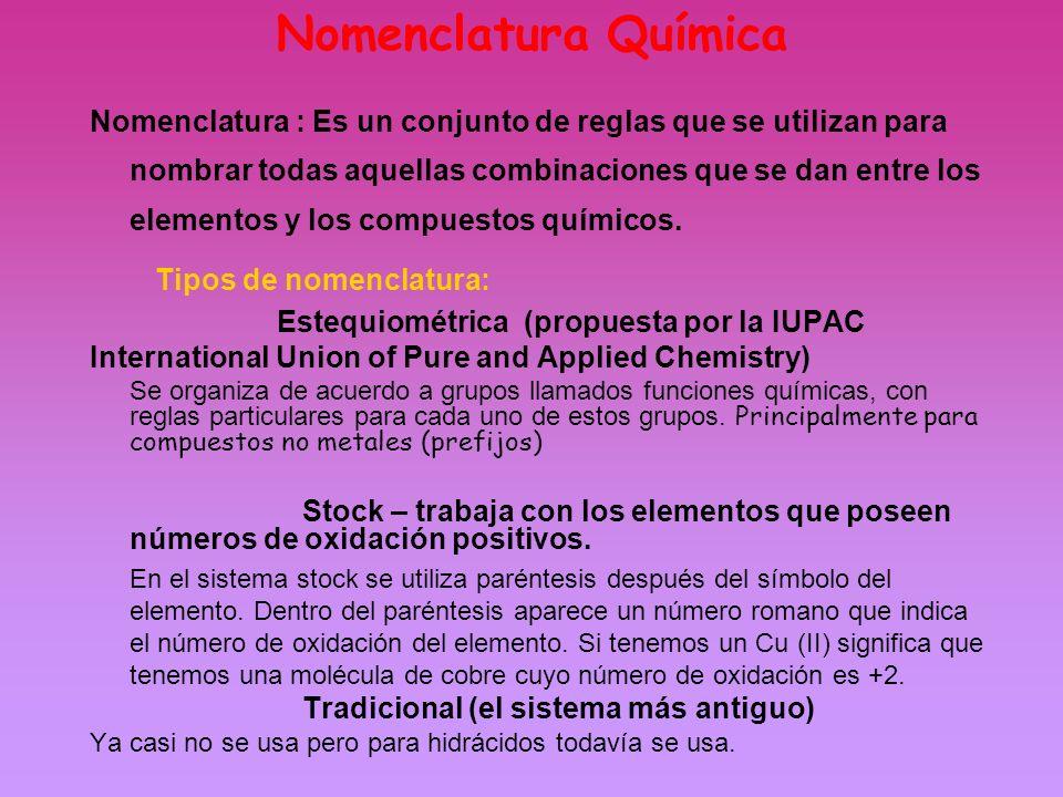 Nomenclatura : Es un conjunto de reglas que se utilizan para nombrar todas aquellas combinaciones que se dan entre los elementos y los compuestos quím