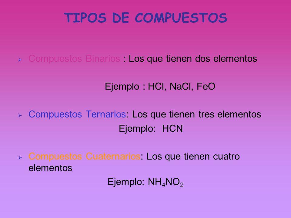 Están formados por dos elementos Se escriben los elementos en un orden: 1º el de numero de oxidación positivo 2º el de carga negativa Se intercambian las cargas, pero en positivo (no se puede tener menos un átomo) Siempre que sea posible se simplifica: Cu 2 2+ S 2 2- CuS Al 2 3+ O 3 2- Al 2 O 3 El compuesto se lee de derecha a izquierda a la hora de ponerle nombre COMPUESTOS BINARIOS