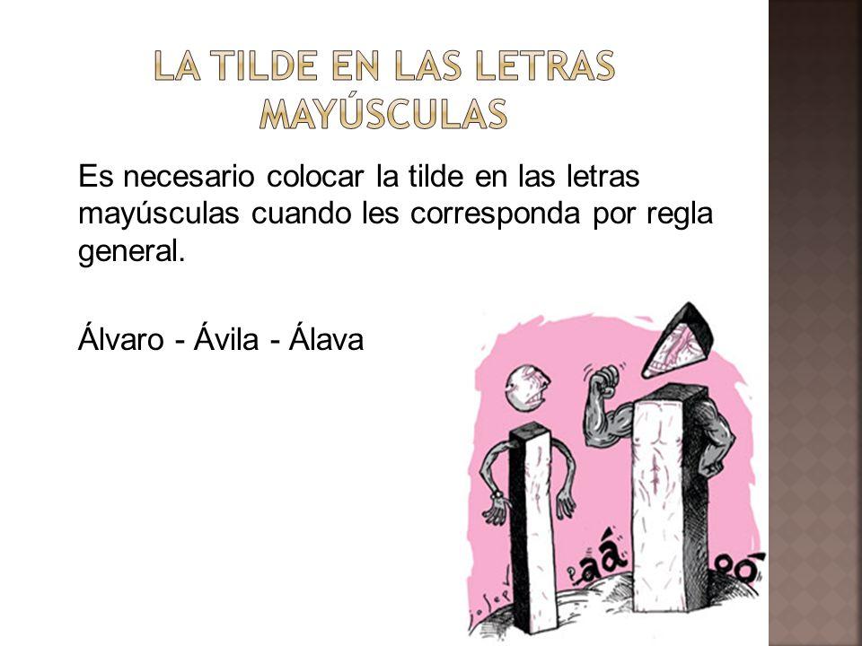 Es necesario colocar la tilde en las letras mayúsculas cuando les corresponda por regla general. Álvaro - Ávila - Álava