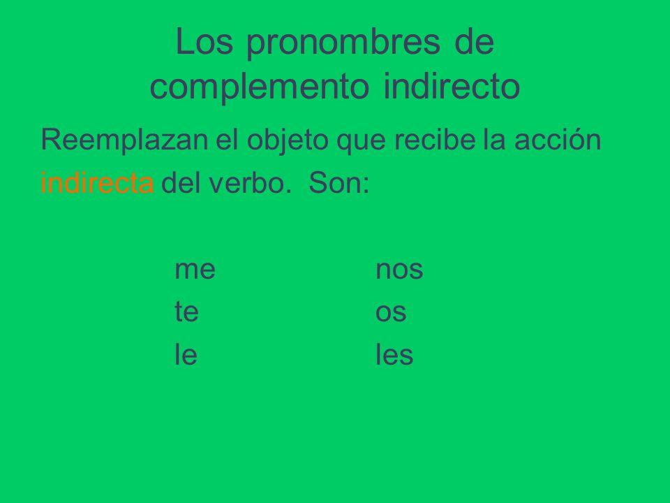 Los pronombres de complemento indirecto Reemplazan el objeto que recibe la acción indirecta del verbo.