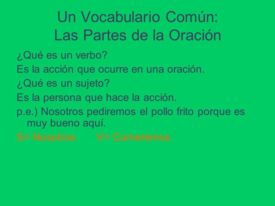Un Vocabulario Común: Las Partes de la Oración ¿Qué es un verbo? Es la acción que ocurre en una oración. ¿Qué es un sujeto? Es la persona que hace la