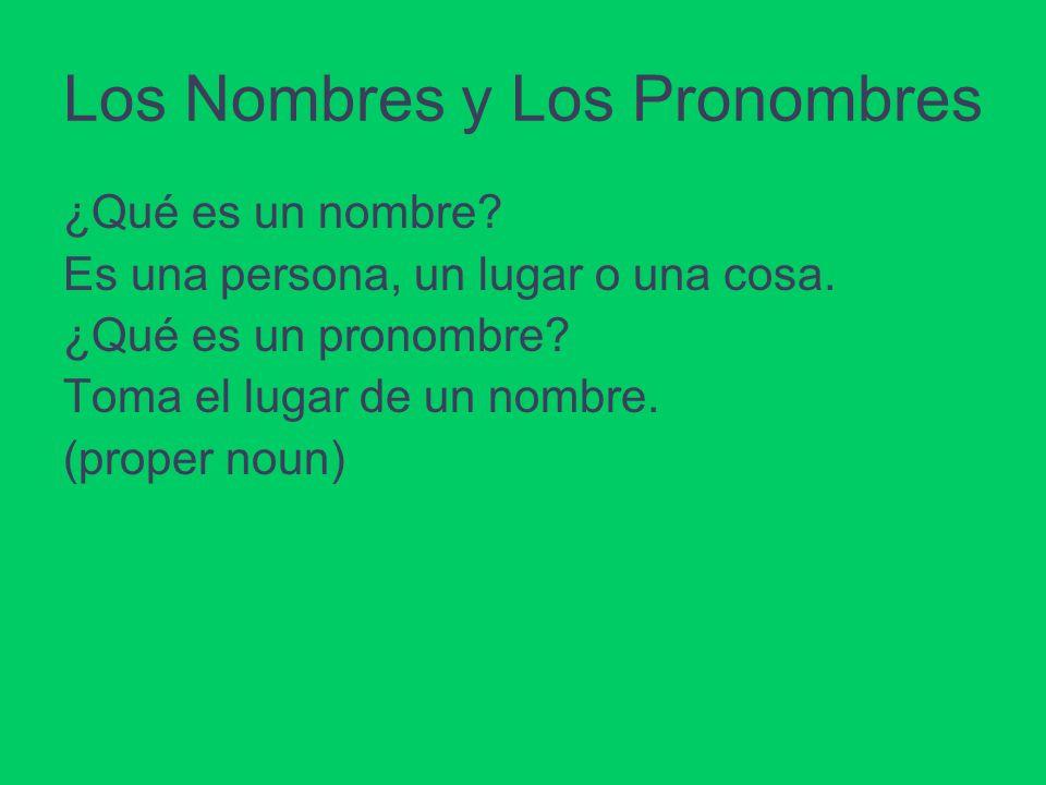 Los Nombres y Los Pronombres ¿Qué es un nombre? Es una persona, un lugar o una cosa. ¿Qué es un pronombre? Toma el lugar de un nombre. (proper noun)
