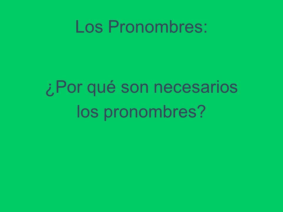 Los Pronombres: ¿Por qué son necesarios los pronombres?