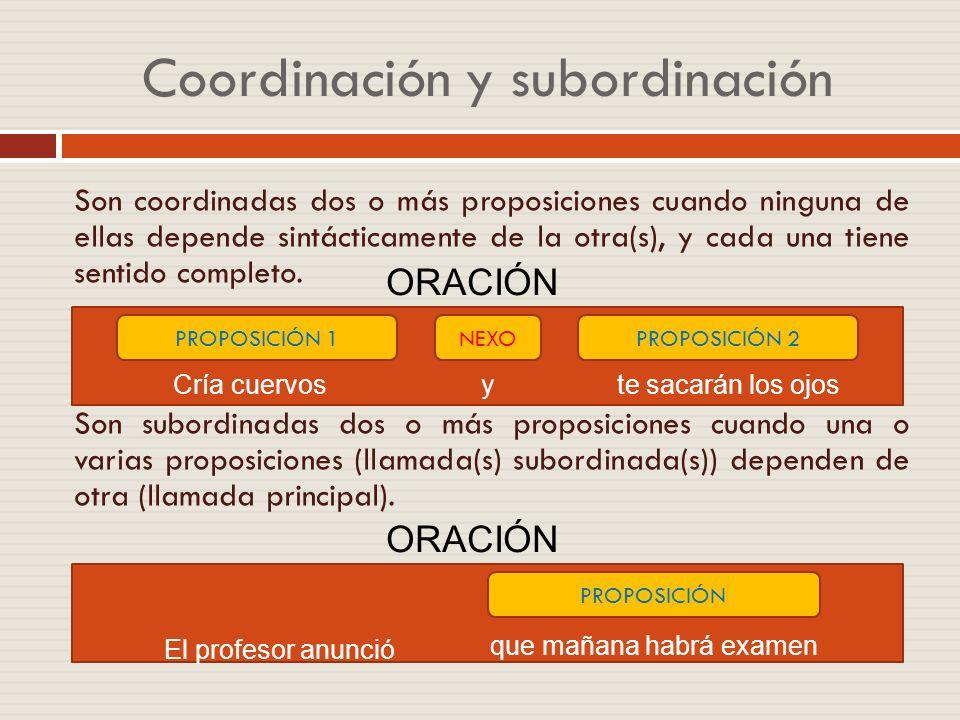PROPOSICIONES COORDINADAS Y YUXTAPUESTAS