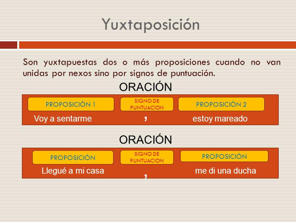 Coordinación y subordinación Son coordinadas dos o más proposiciones cuando ninguna de ellas depende sintácticamente de la otra(s), y cada una tiene s