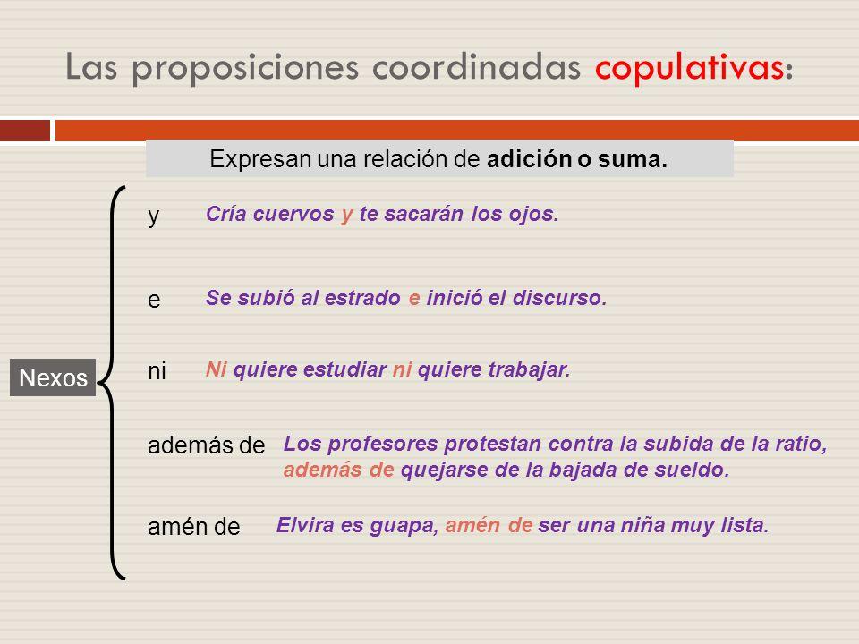 Clasificación de las proposiciones coordinadas Proposiciones coordinadas Copulativas Adversativas El profesor habla y los alumnos escuchan. Es un libr