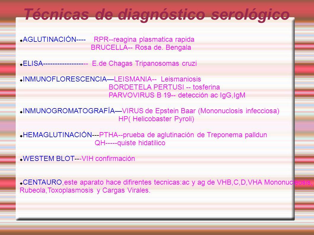 Técnicas de diagnóstico serológico AGLUTINACIÓN---- RPR--reagina plasmatica rapida BRUCELLA-- Rosa de. Bengala ELISA------------------- E.de Chagas Tr