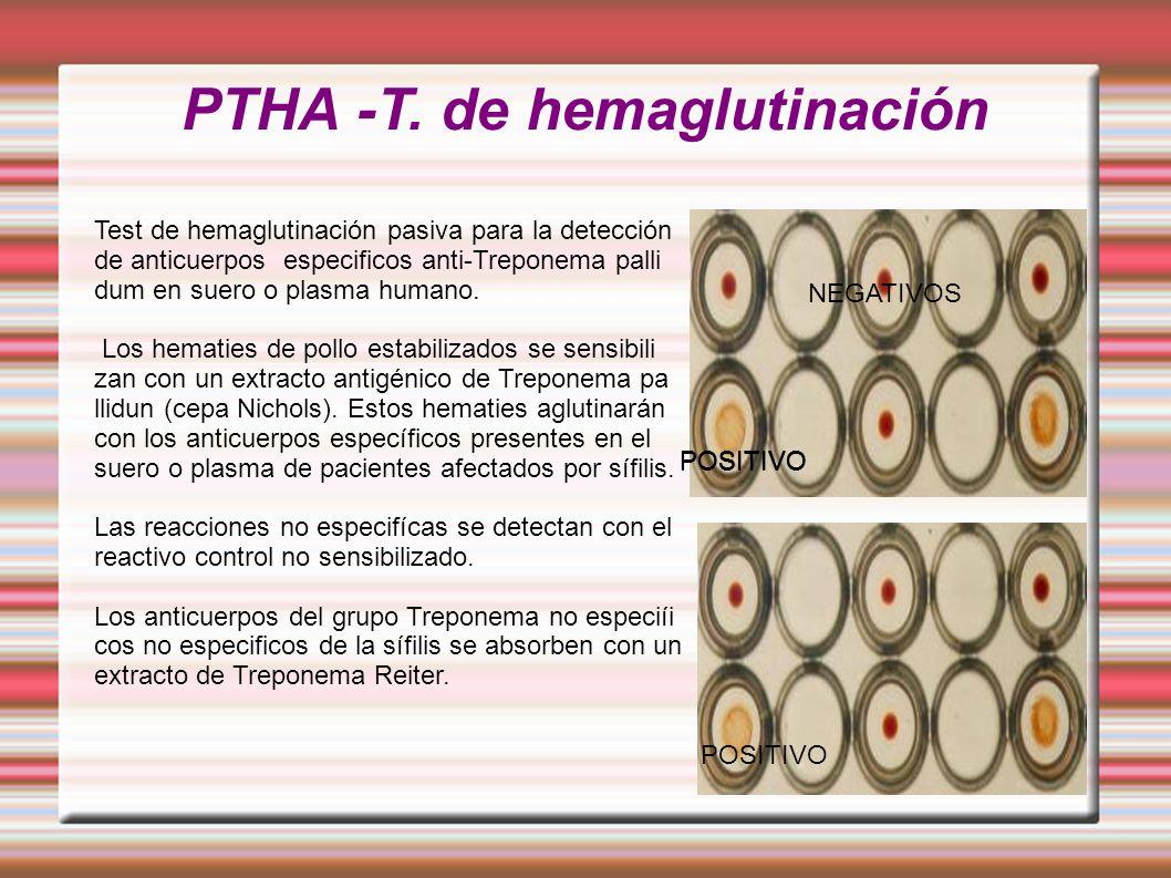 PTHA -T. de hemaglutinación NEGATIVOS POSITIVO Test de hemaglutinación pasiva para la detección de anticuerpos especificos anti-Treponema palli dum en