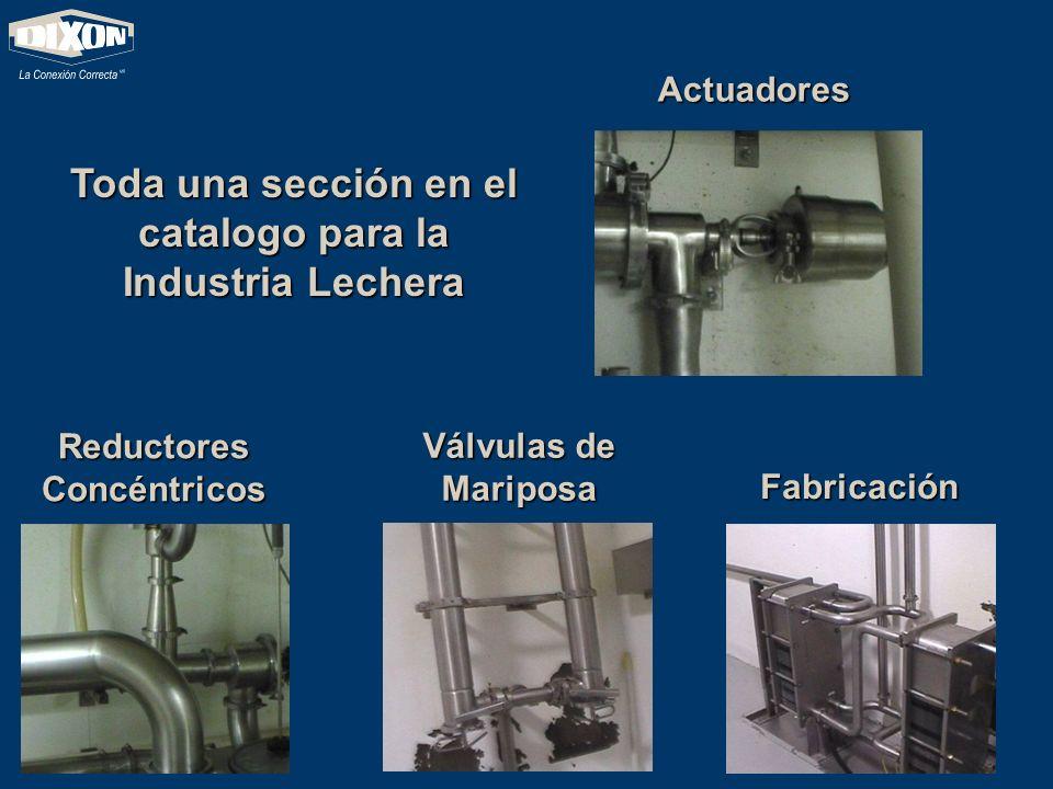 Toda una sección en el catalogo para la Industria Lechera Válvulas de Mariposa Reductores Concéntricos Actuadores Fabricación