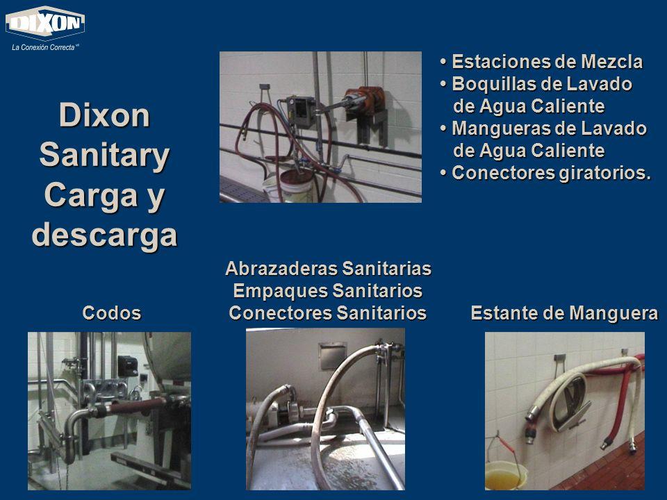 Dixon Sanitary Carga y descarga Abrazaderas Sanitarias Empaques Sanitarios Conectores Sanitarios Codos Estante de Manguera Estaciones de Mezcla Estaci