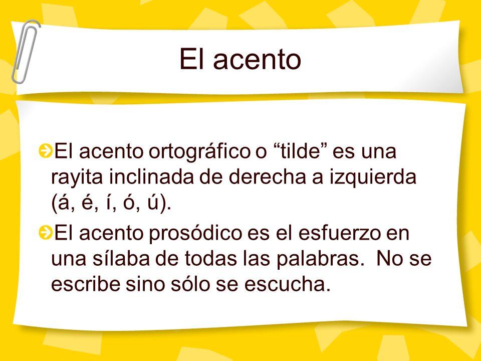 El acento La gran mayoría de las palabras españolas tienen acento prósodico, pero no todas tienen acento ortográfico.
