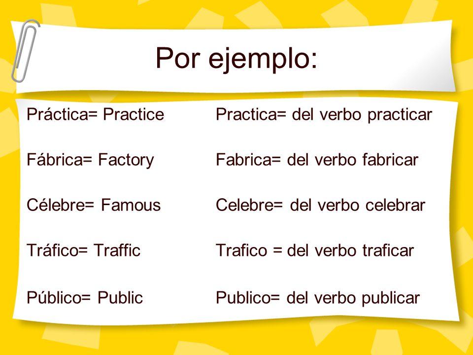 Más ejemplos El significado de la palabra cambia según la sílaba acentuada: Practico práctico practicó Animoánimoanimó