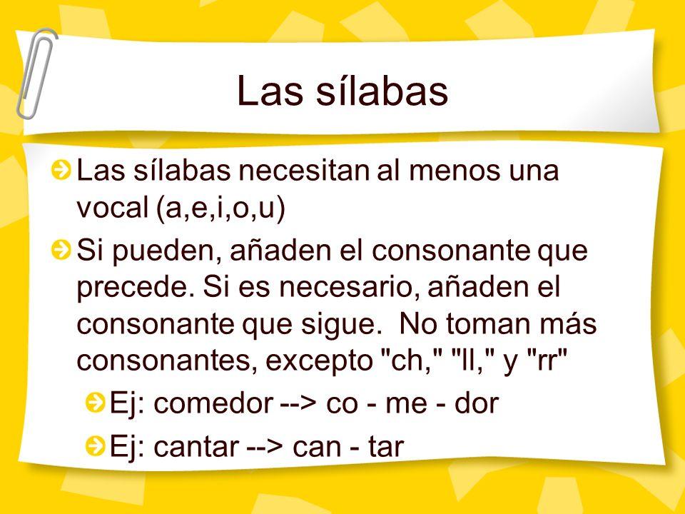 Las vocales y los diptongos Las vocales fuertes: A, E, O Las vocales débiles: I, U Cuando dos vocales están juntas: Dos fuertes separan en dos sílabas Ej: caer --> ca - er Dos débiles o una fuerte y una débil forman una sílaba.