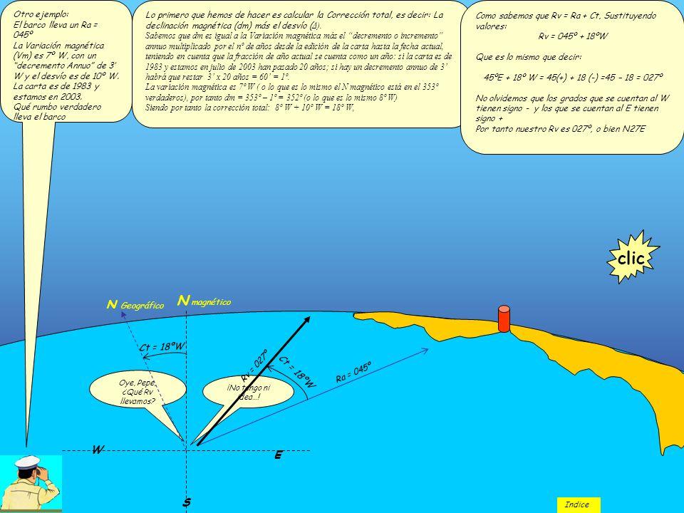 Otro ejemplo: El barco lleva un Ra = 045º La Variación magnética (Vm) es 7º W, con un decremento Annuo de 3 W y el desvío es de 10º W. La carta es de