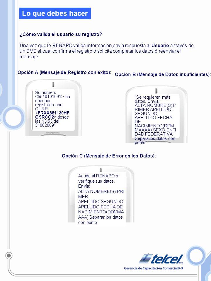 Lo que debes hacer Opción A (Mensaje de Registro con éxito): los datos suministrados son correctos y suficientes para registrar la línea.