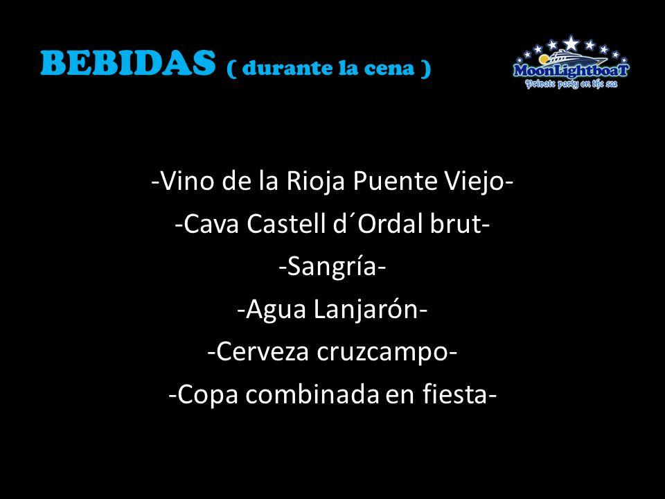 BEBIDAS ( durante la cena ) -Vino de la Rioja Puente Viejo- -Cava Castell d´Ordal brut- -Sangría- -Agua Lanjarón- -Cerveza cruzcampo- -Copa combinada