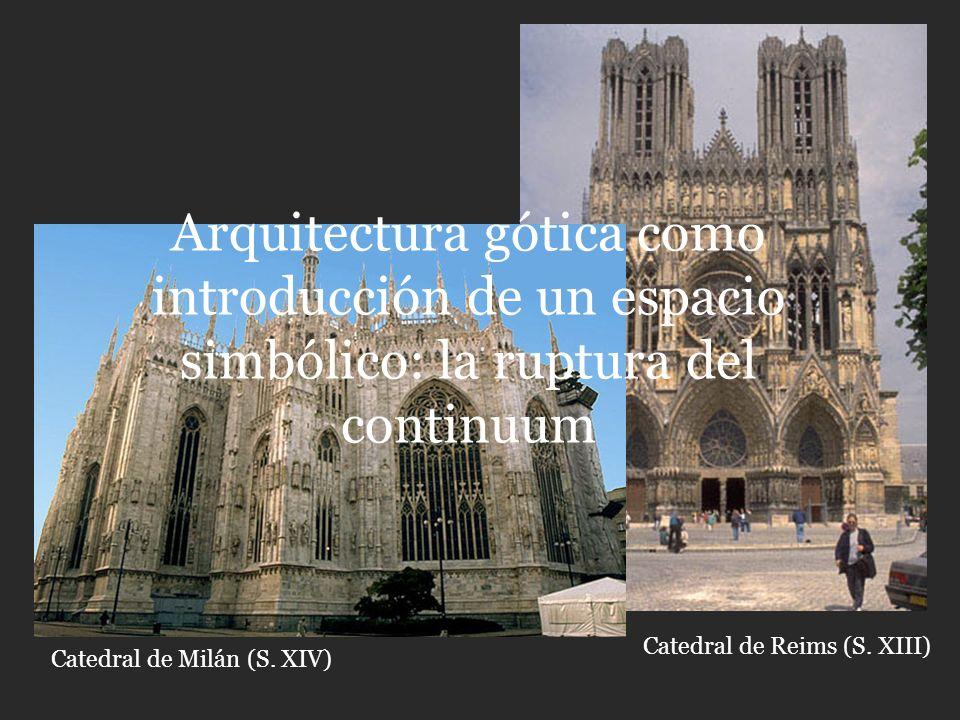 Catedral de Reims (S. XIII) Catedral de Milán (S. XIV) Arquitectura gótica como introducción de un espacio simbólico: la ruptura del continuum