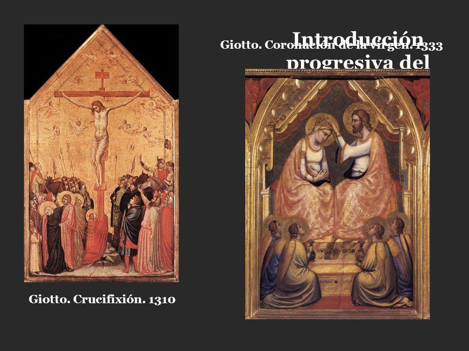 Introducción progresiva del marco (del gótico al renacimiento) Giotto. Crucifixión. 1310 Giotto. Coronación de la virgen. 1333