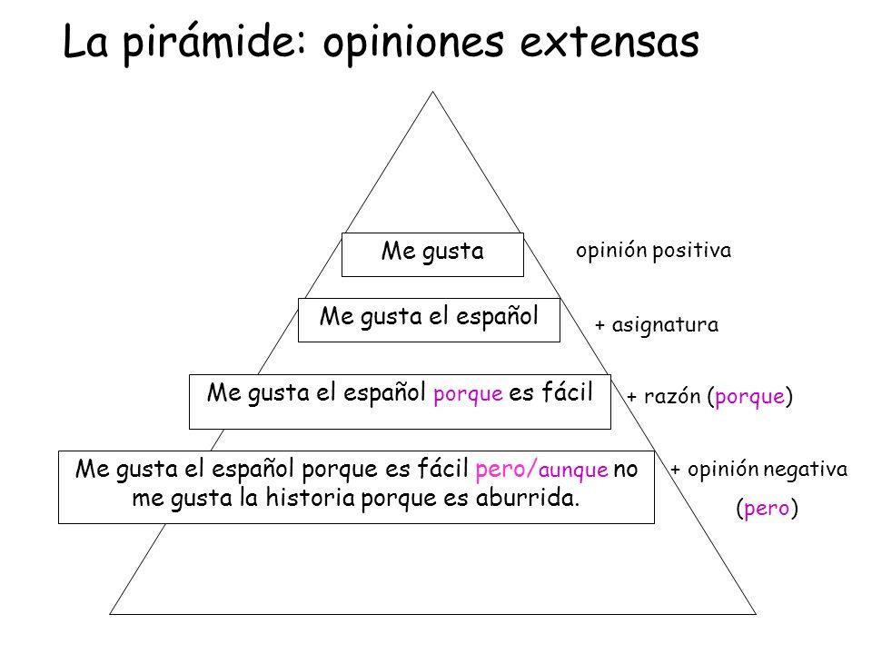 Me gusta Me gusta el español Me gusta el español porque es fácil Me gusta el español porque es fácil pero/ aunque no me gusta la historia porque es ab