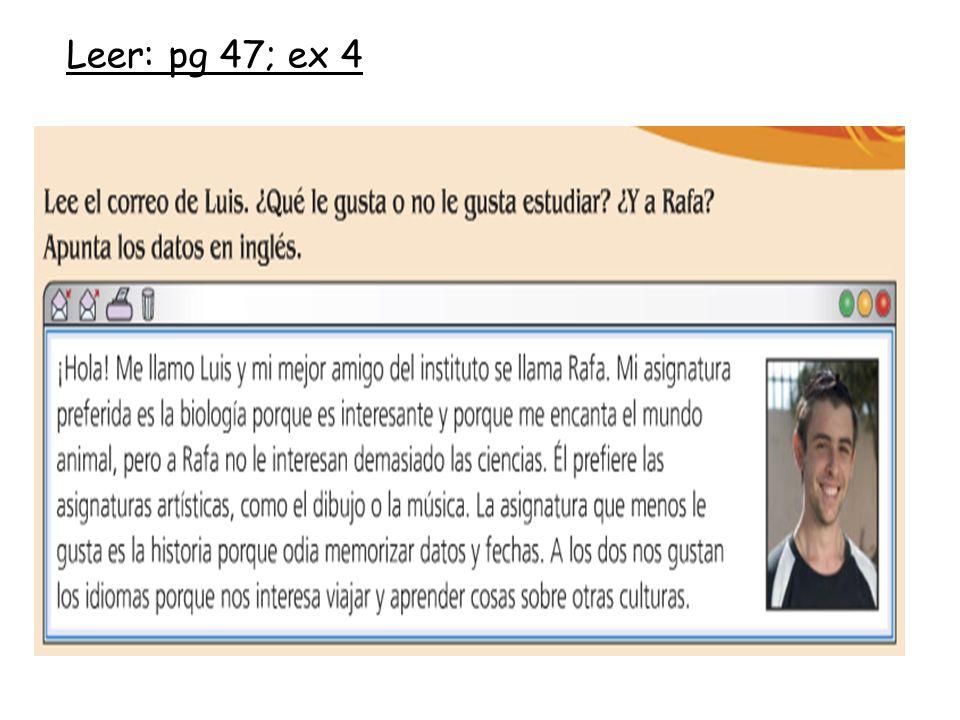 Leer: pg 47; ex 4