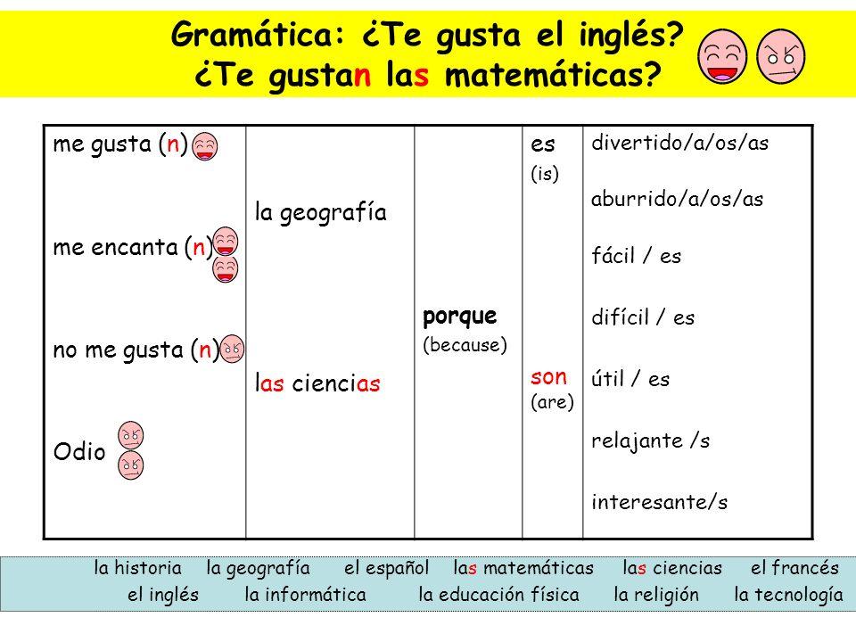 Gramática: ¿Te gusta el inglés? ¿Te gustan las matemáticas? me gusta (n) me encanta (n) no me gusta (n) Odio la geografía las ciencias porque (because