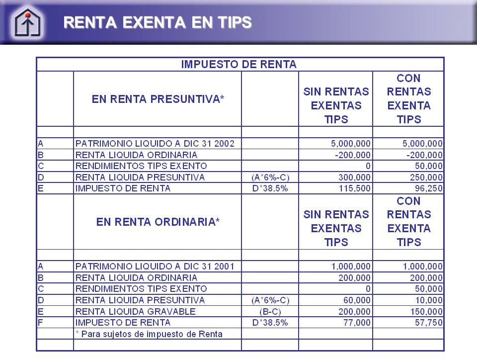 RENTA EXENTA EN TIPS