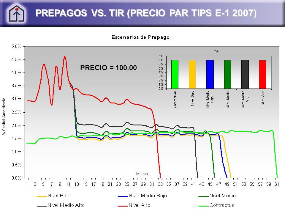 PREPAGOS VS. TIR (PRECIO PAR TIPS E-1 2007) PRECIO = 100.00 % Capital Amortizado Meses