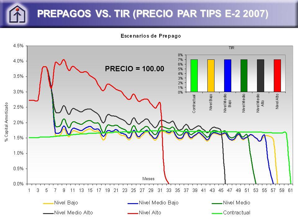 PREPAGOS VS. TIR (PRECIO PAR TIPS E-2 2007) PRECIO = 100.00 % Capital Amortizado Meses