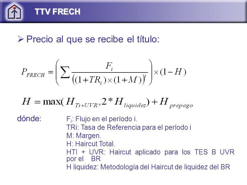 Precio al que se recibe el título: dónde: F i : Flujo en el período i.