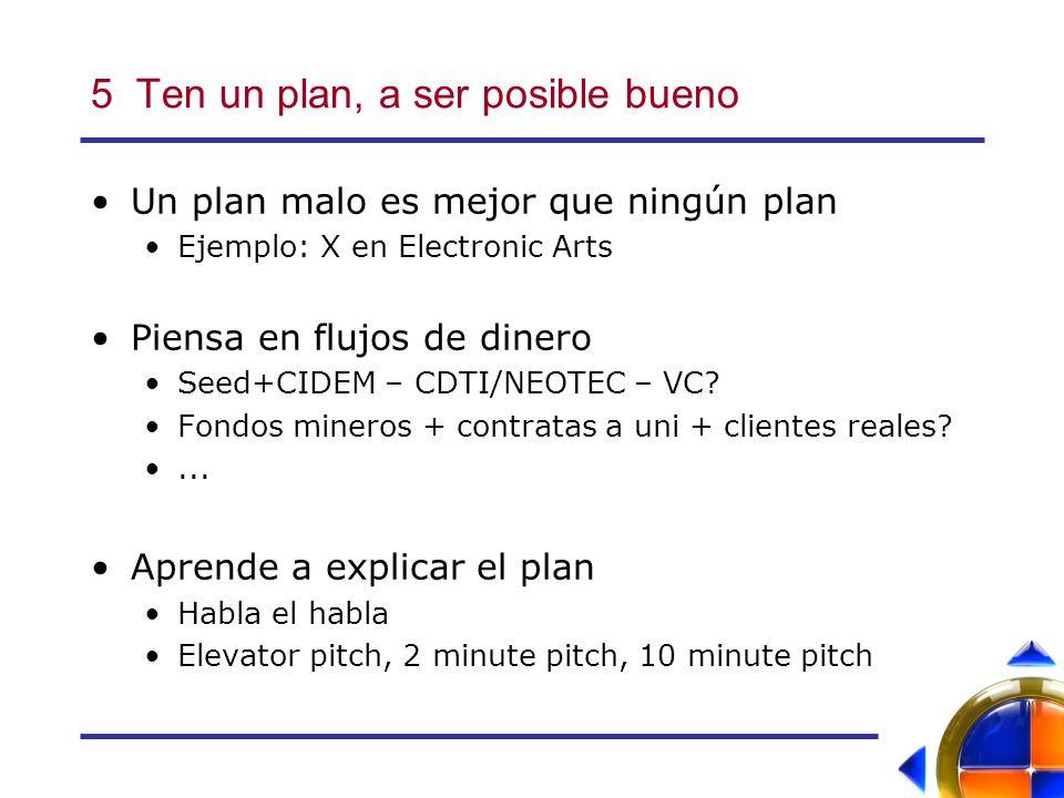 5 Ten un plan, a ser posible bueno Un plan malo es mejor que ningún plan Ejemplo: X en Electronic Arts Piensa en flujos de dinero Seed+CIDEM – CDTI/NEOTEC – VC.